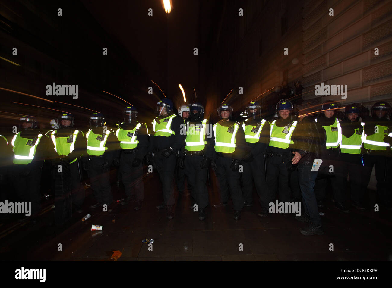 London, UK. 5th November, 2015. Central London Thousands attend Million Mask March in London UK as there were hightened - Stock Image