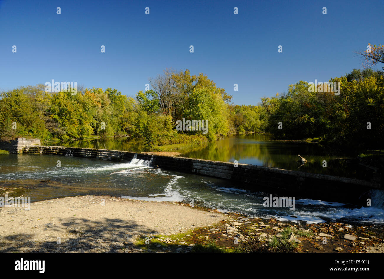 Dam on the Big Blue River, Edinburgh, Indiana Stock Photo: 89551662