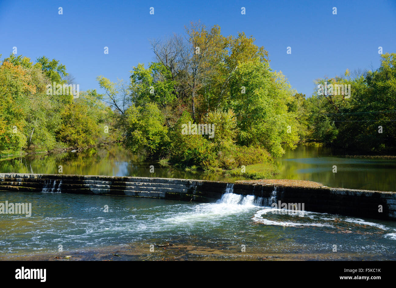 Dam on the Big Blue River, Edinburgh, Indiana Stock Photo: 89551663
