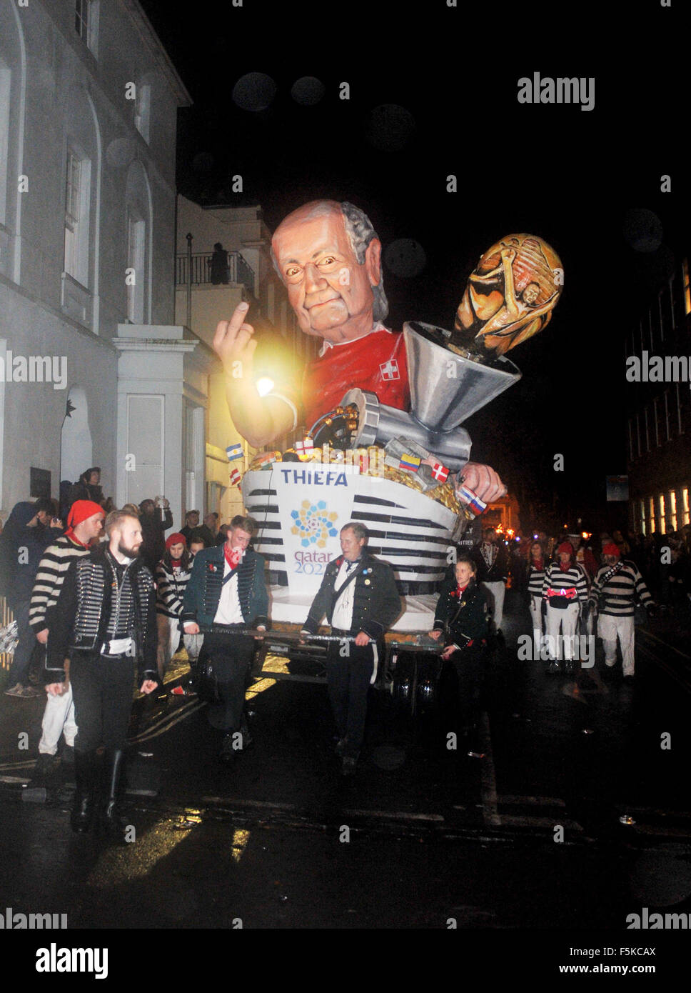 Lewes East Sussex UK 5th November 2015 - The Cliffe Bonfire Society enemy of the bonfire tableau depicting Sepp - Stock Image