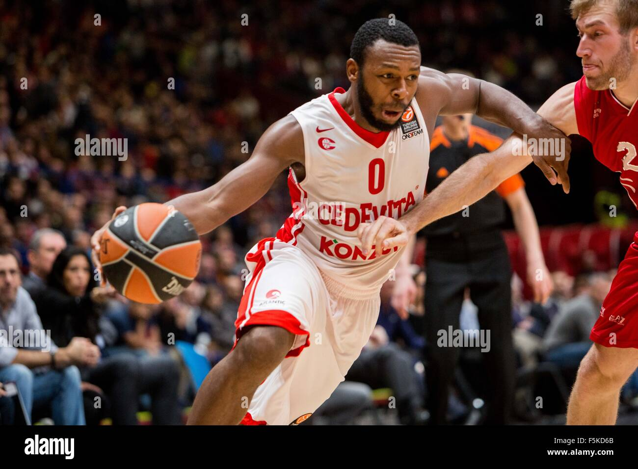 Milan, Italy. 05th Nov, 2015. Jacob Pullen of Cedevita Zagreb during their match against EA7 Emporio Armani at Euroleague - Stock Image