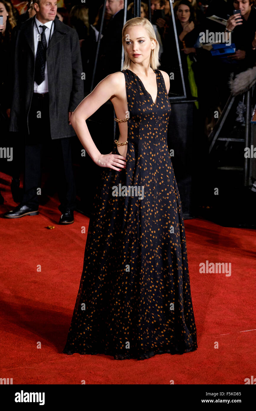 Jennifer Lawrence attends the UK Premiere of The Hunger Games Stock ...