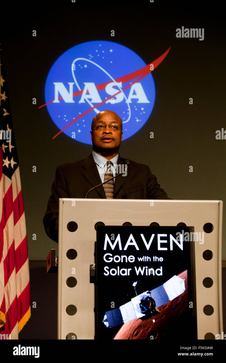 Washington DC, USA. 5th November, 2015. NASA's Mars Atmosphere and Volatile Evolution (MAVEN) mission has identified - Stock Image