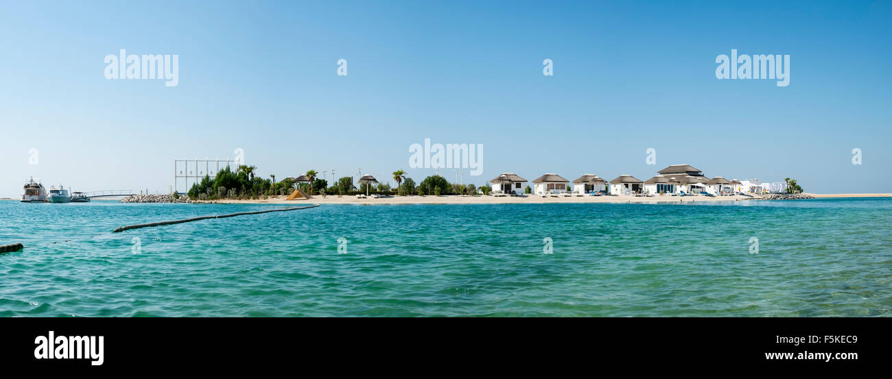 View of The Island Lebanon beach resort on a man made island, part of The World off Dubai coast in  United Arab - Stock Image