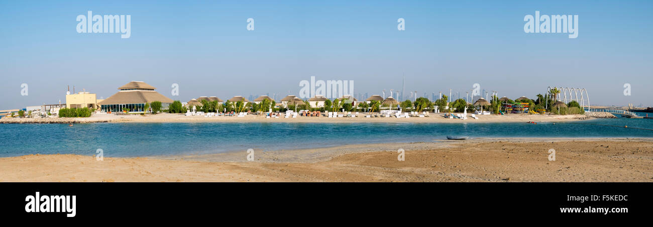 Panoramic view of The Island Lebanon beach resort on a man made island, part of The World off Dubai coast United - Stock Image