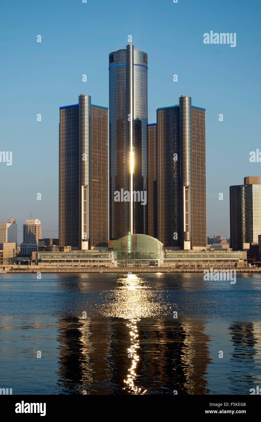 Detroit Skyline Shot at Daybreak November 2015 - Stock Image