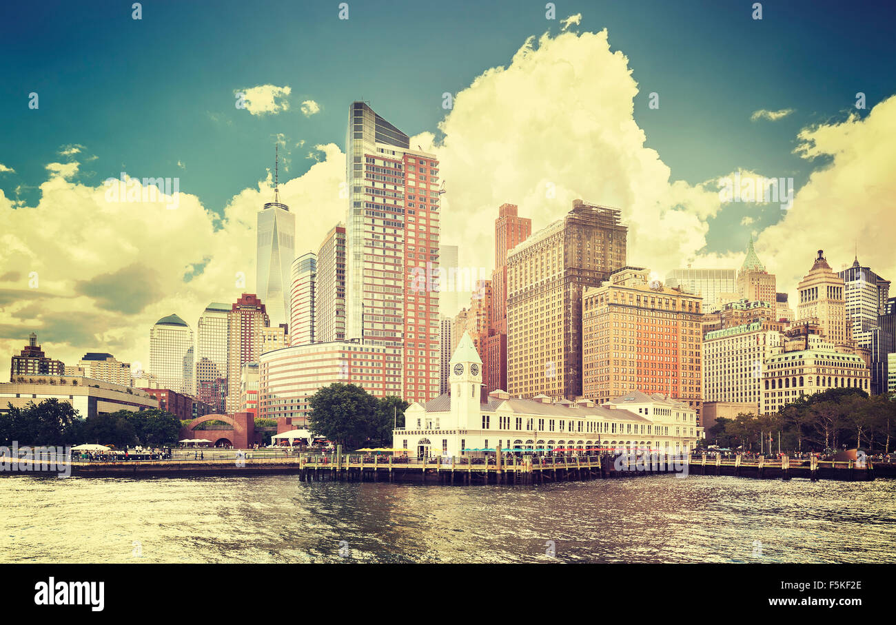 Vintage toned picture of New York waterfront, USA. - Stock Image