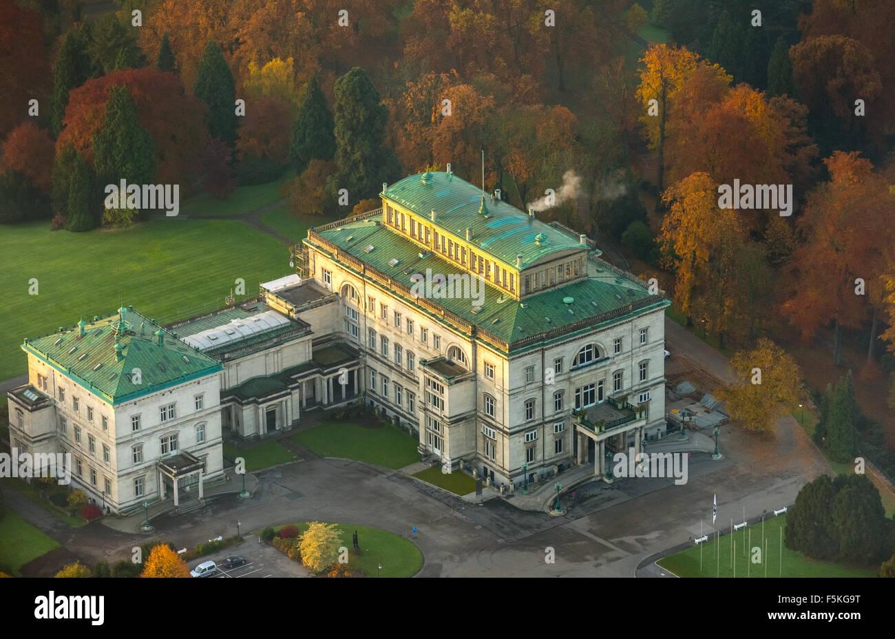 Villa Hügel at the lake Baldeney,  former family home of the Krupp family, Stock Photo
