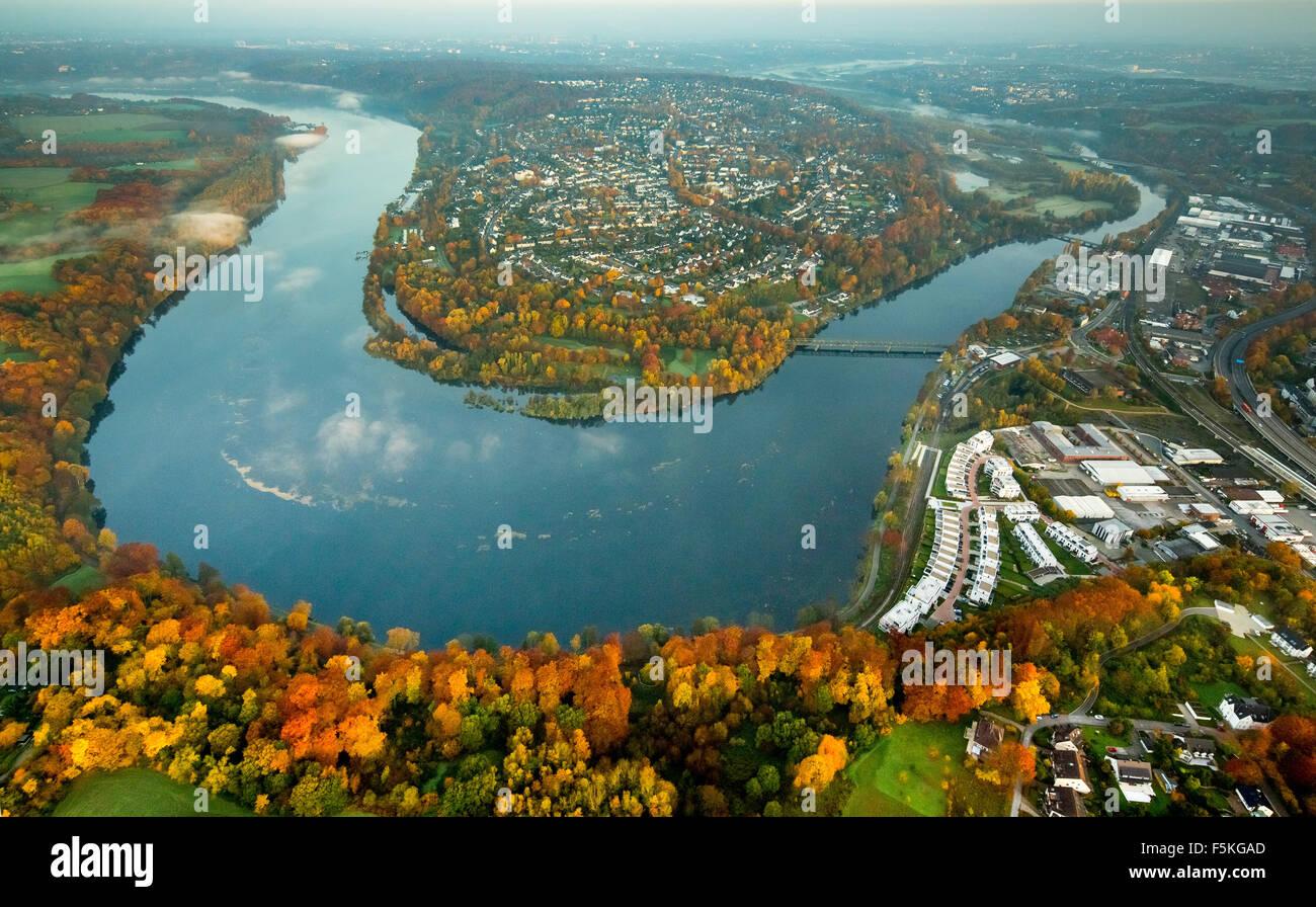 Ruhr, Ruhr bow and Ruhr Peninsula,  right Kupferdreh, autumn mood morning mood, Essen Ruhrgebiet Ruhr Aeria - Stock Image