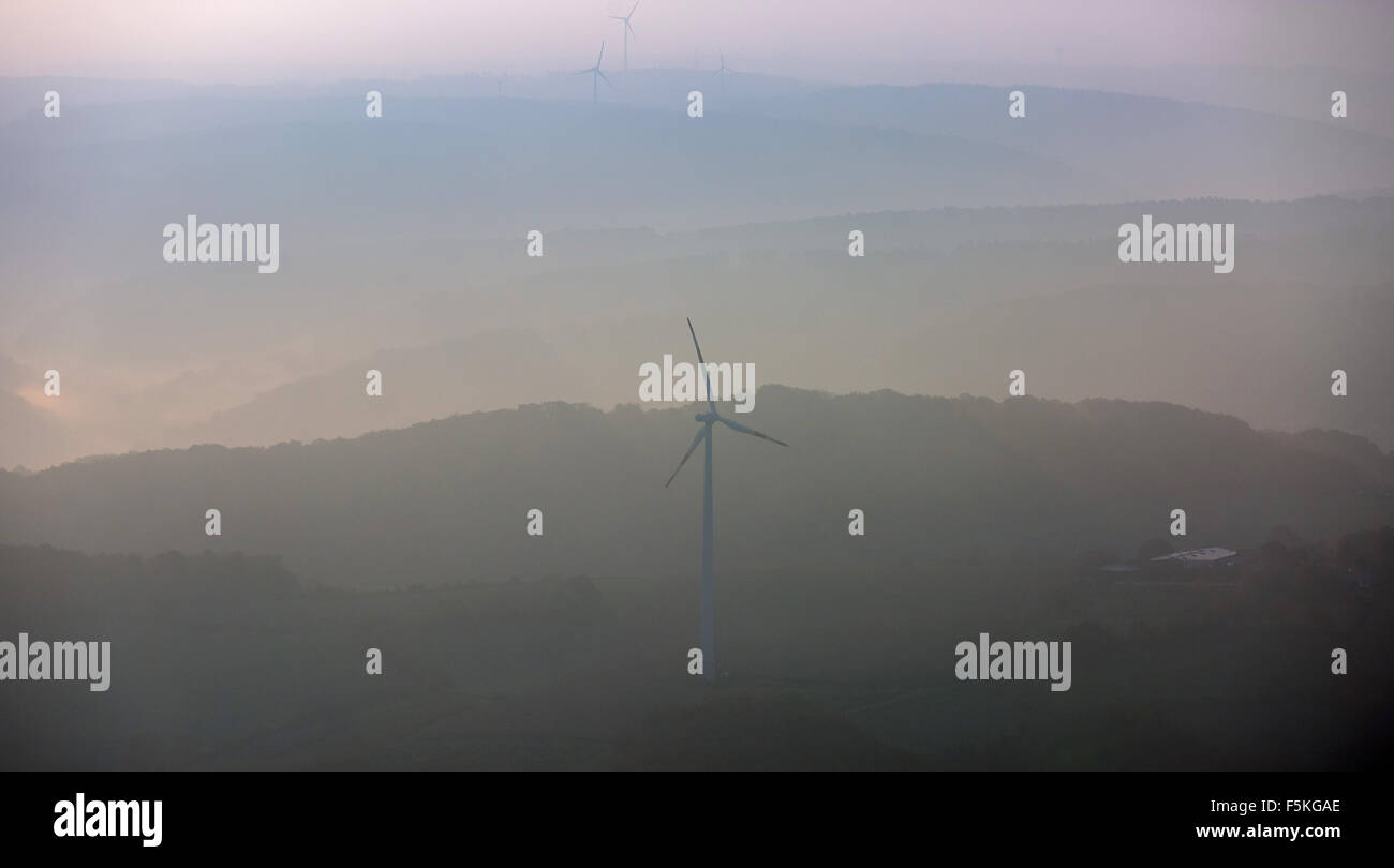 Looking towards Hattingen with wind power plant on the hills, wind power, alternative energy, - Stock Image