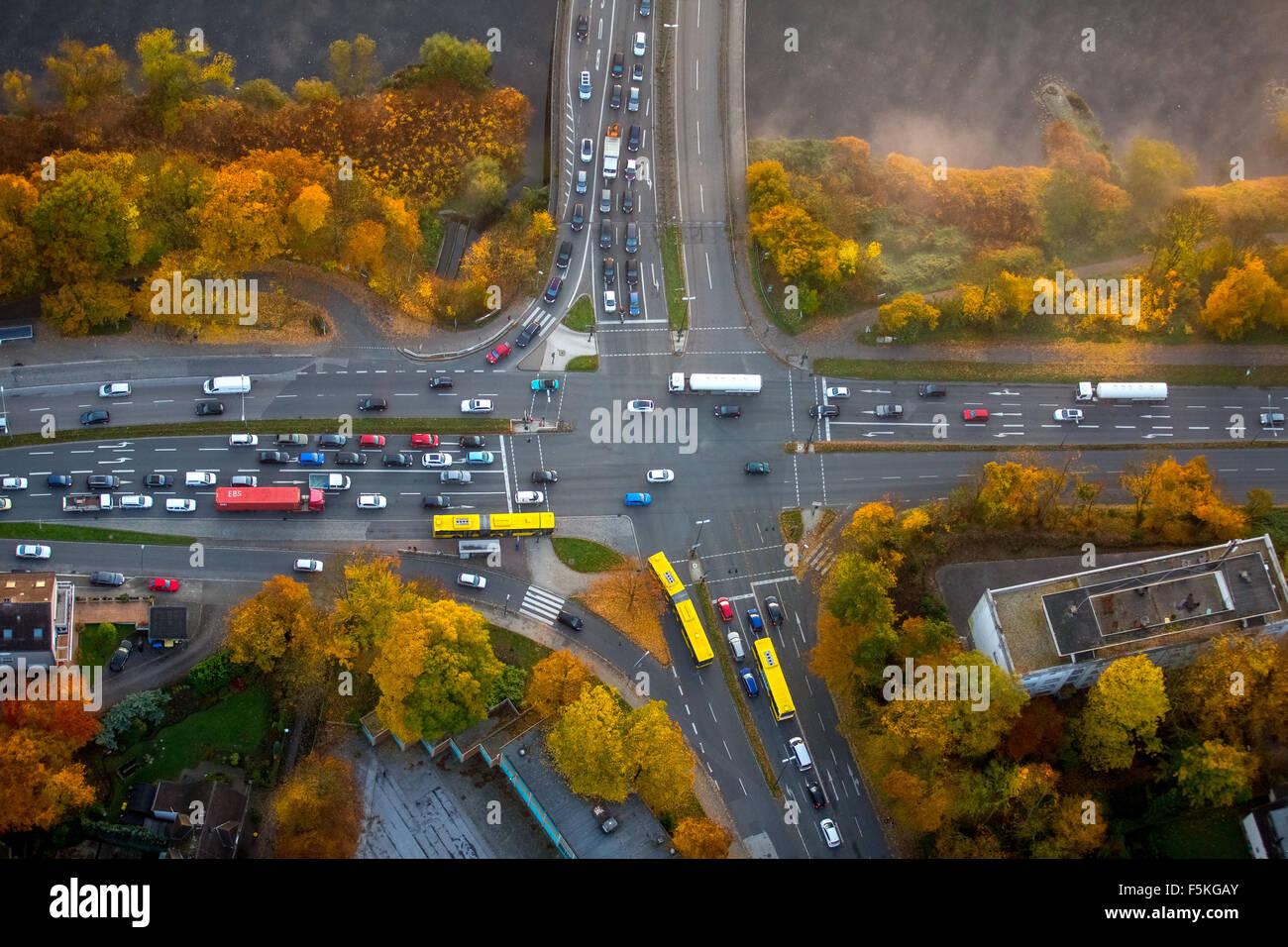 Road Junction, yellow buses EVAG, autumn leaves, autumn Essen Ruhrgebiet North Rhine-Westphalia Germany - Stock Image