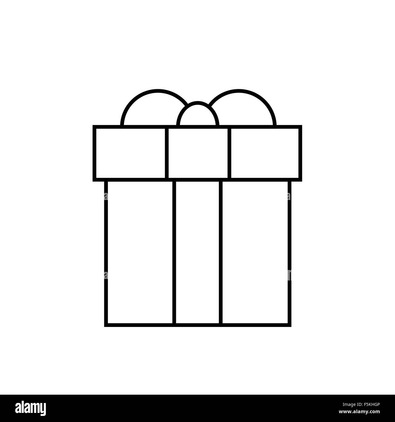 Gift Box Thin Line Minimalistic Hand Draw Logo Present Outline Stock