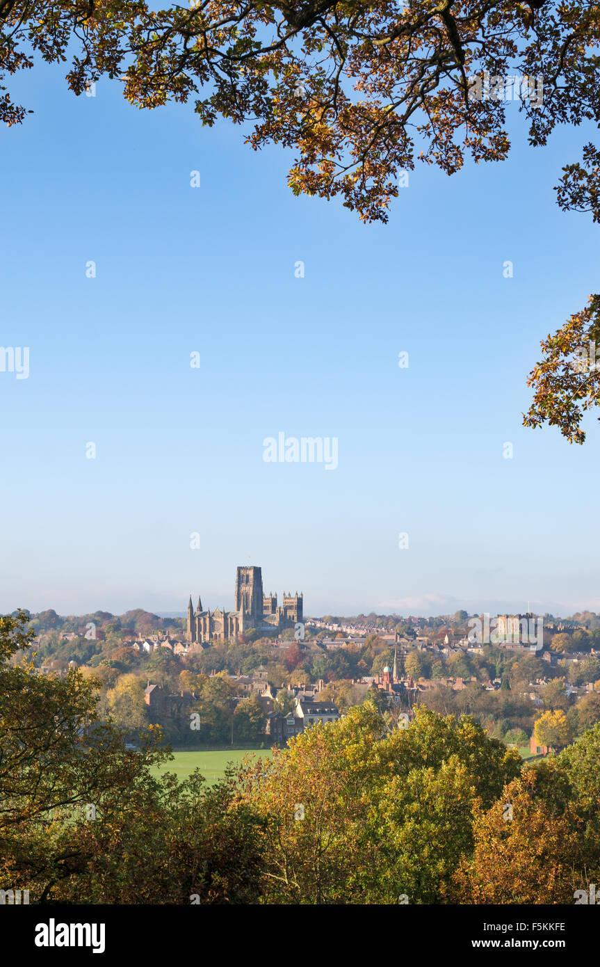 Autumn foliage colour and  Durham Cathedral, England, UK - Stock Image