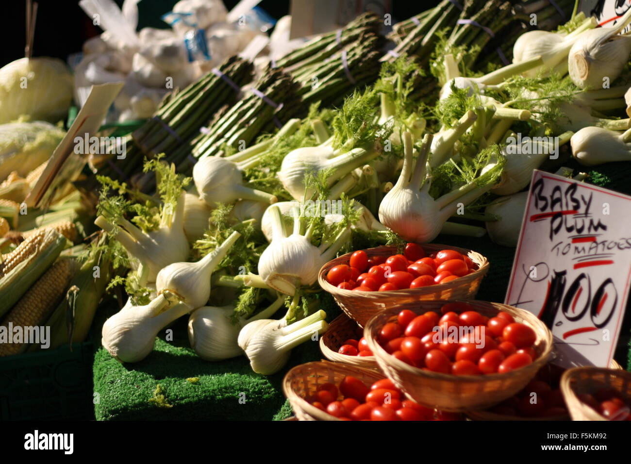 Fresh fruit and vegetables on display at Kingston-upon-Thames Market in London, UK Stock Photo