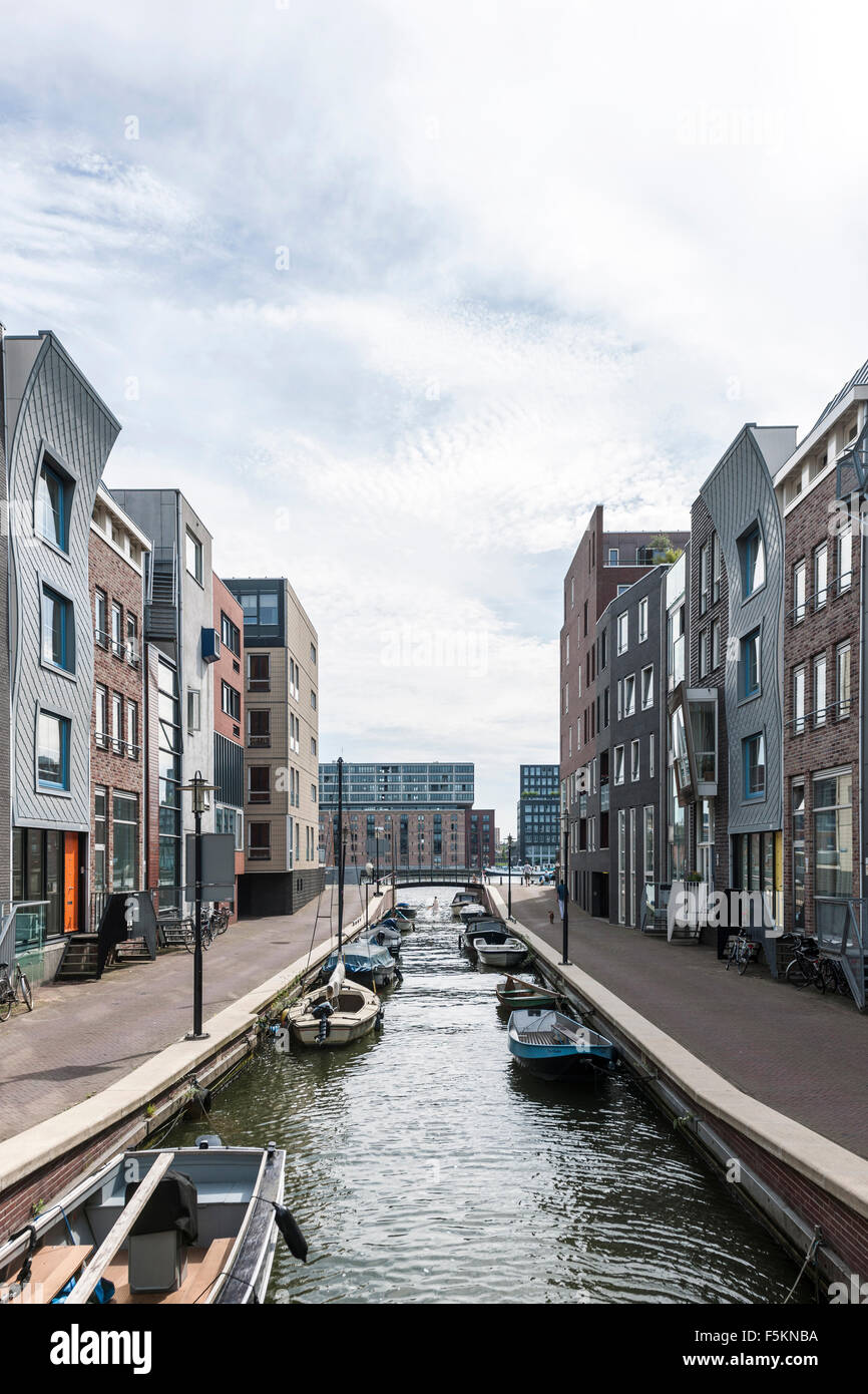Modern apartment buildings, Java Eiland, Amsterdam, The Netherlands - Stock Image