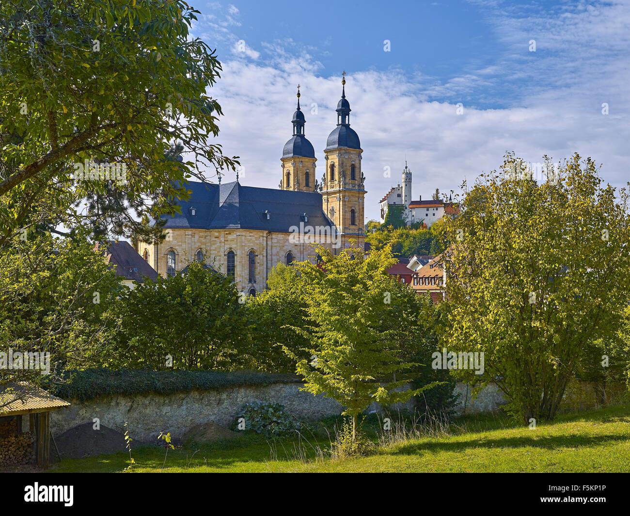 Pilgrimage Church with castle, Gößweinstein, Bavaria, Germany Stock Photo