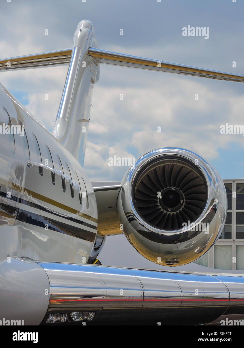 Chrome cowl on executive jet - Stock Image