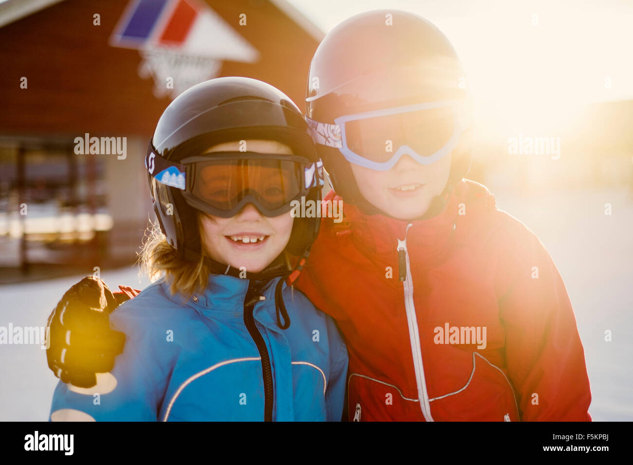 Sweden, Dalarna, Salen, Portrait of boy (10-11) and girl (8-9) - Stock Image