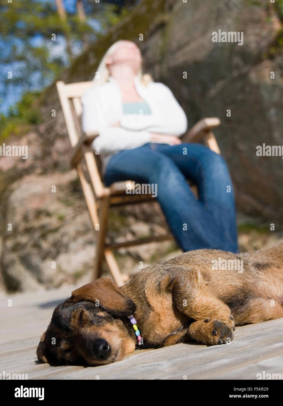 Sweden, Bohuslan, Tjorn, Low angle view of woman and dog sleeping - Stock Image
