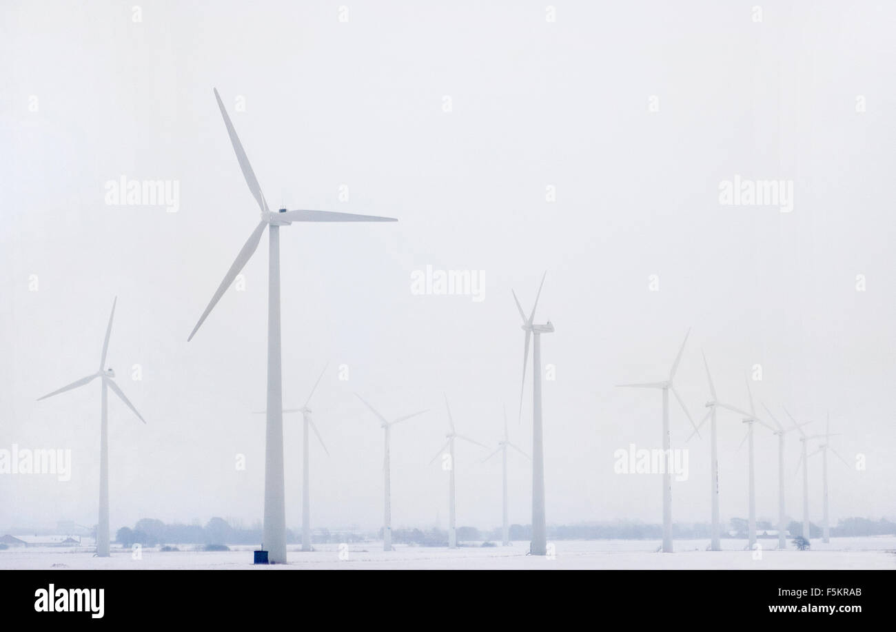 Sweden, Halland, View of wind farm - Stock Image
