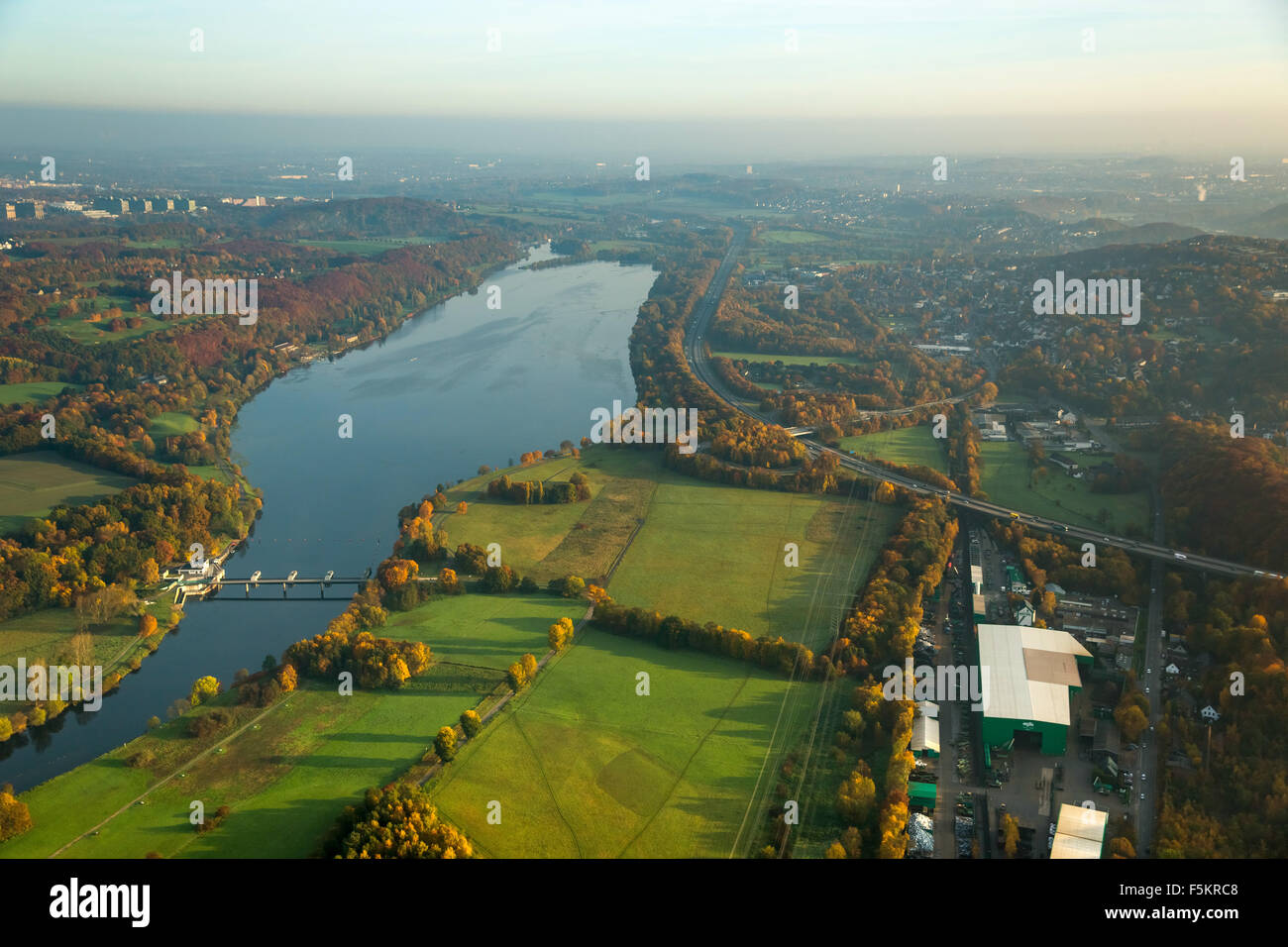 Kemnader Stausee, Lake Kemnade, river Ruhr, Kemnader Reservoir in autumn light, Witten, Ruhr Aeria - Stock Image