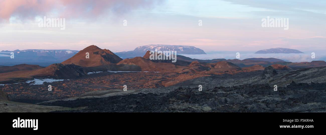 Dawn over Leirhnjukur lava field, Krafla volcano, Myvatn, Nordhurland Eystra, Iceland. - Stock Image
