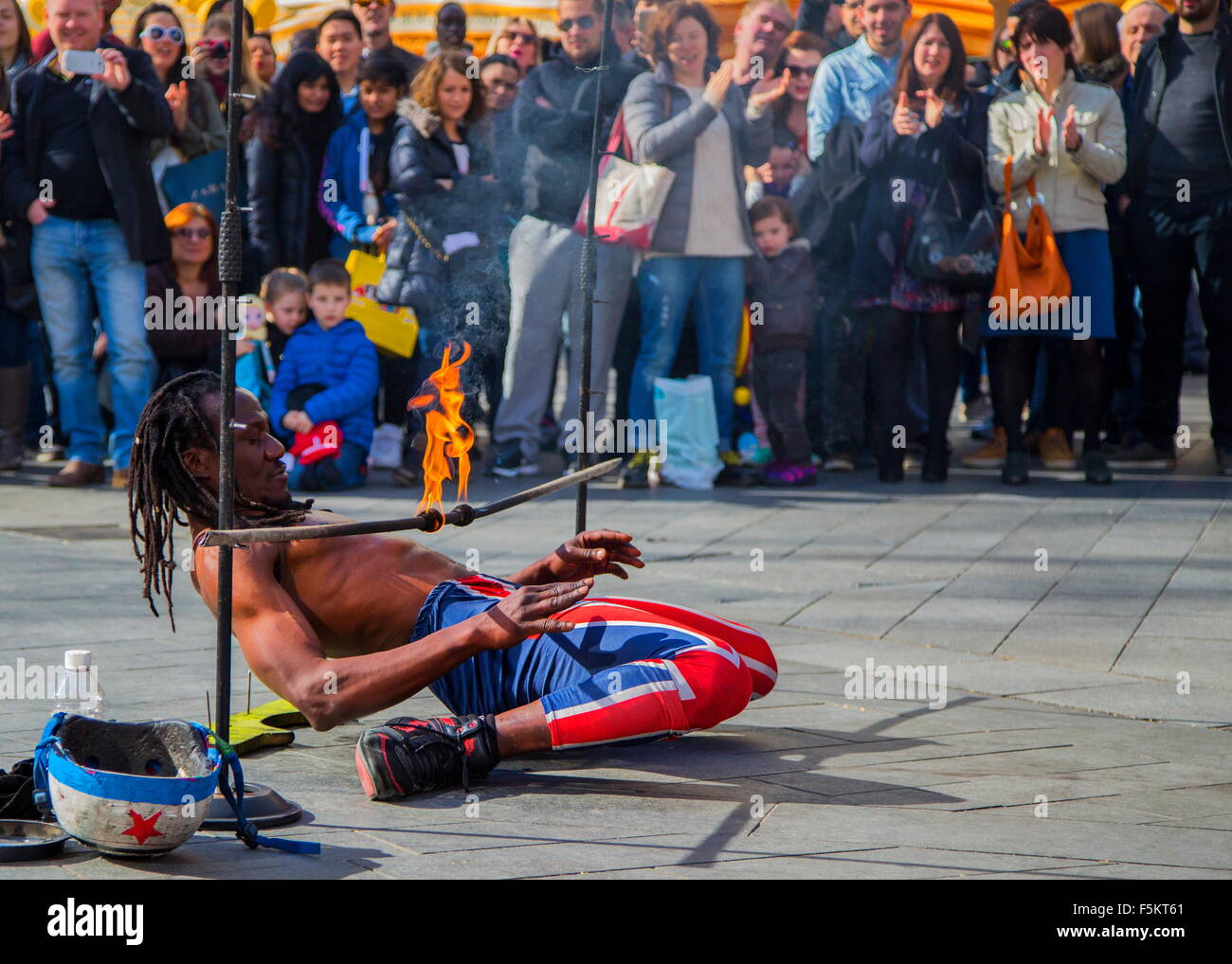 Street performer in London at Leicester Square - Stock Image