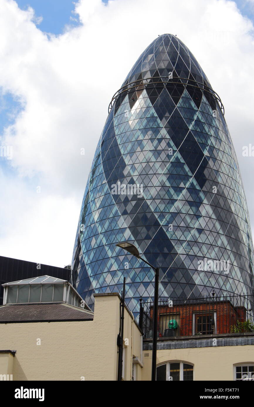 The Gherkin in London, UK, 30 St Mary Axe - Stock Image