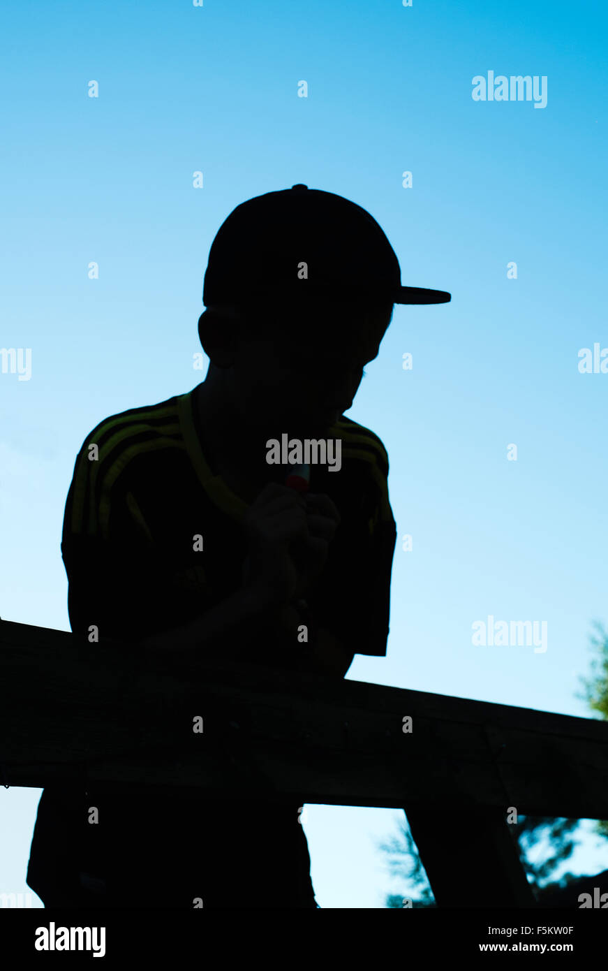 Sweden, Silhouette view of boy (12-13) - Stock Image