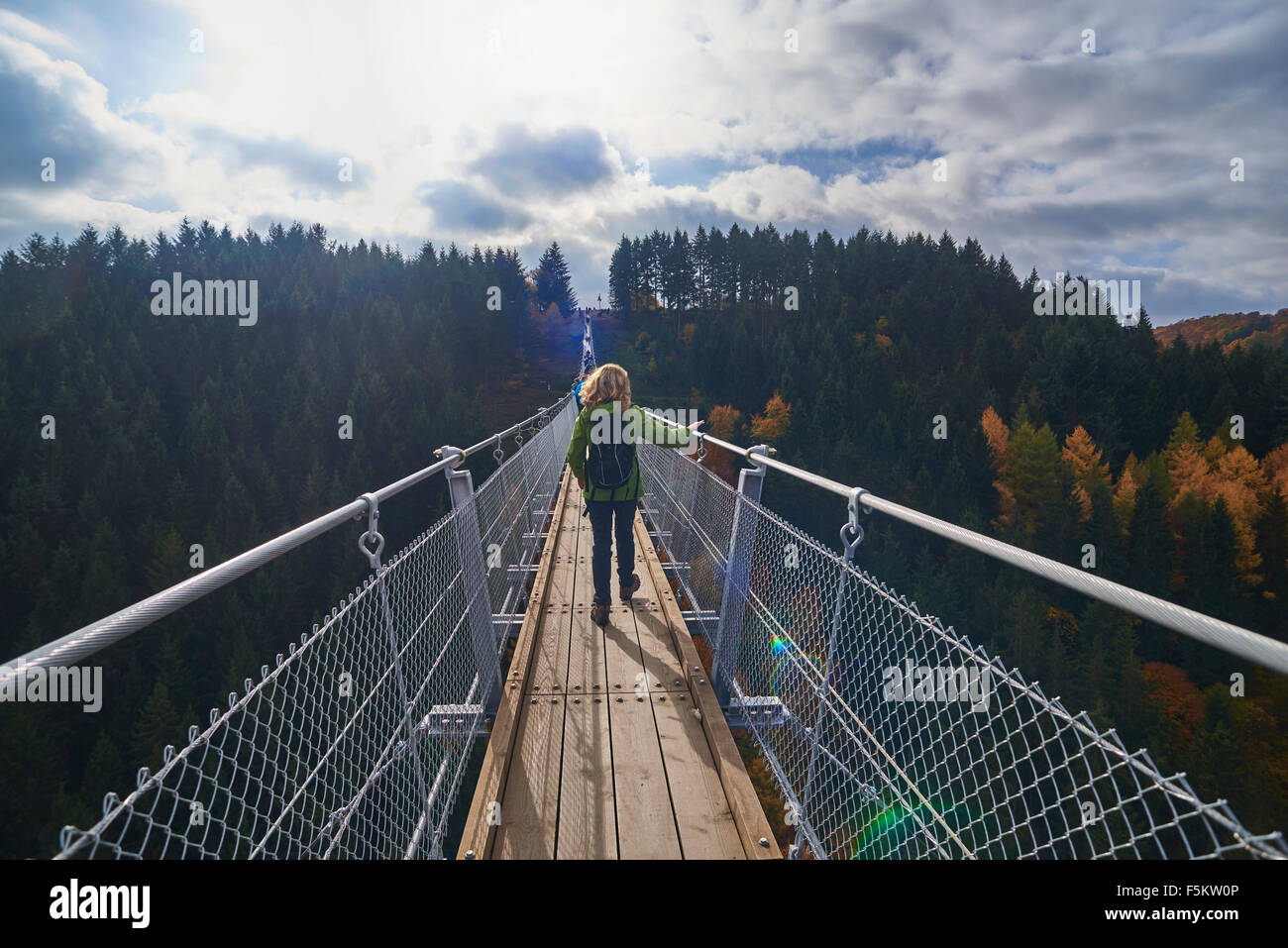 hanging rope bridge Geierlay,Mörsdorf,Hunsrück,Saar-Hunsrück-Steig,Germany - Stock Image
