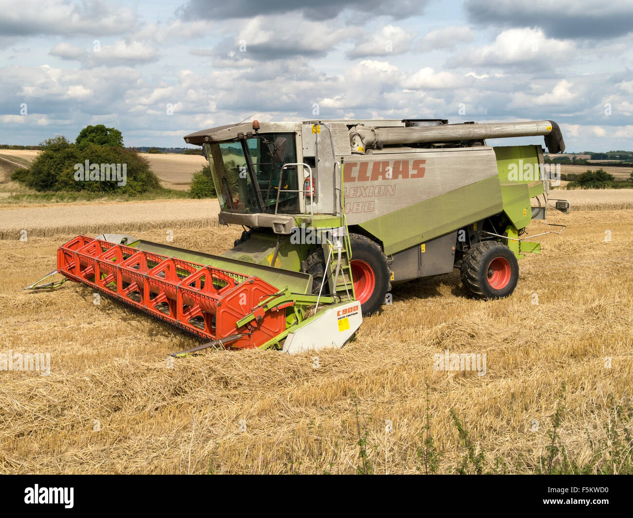 Stationary Claas Lexion 480 combined harvester in corn field in Leicestershire, England, UK. - Stock Image