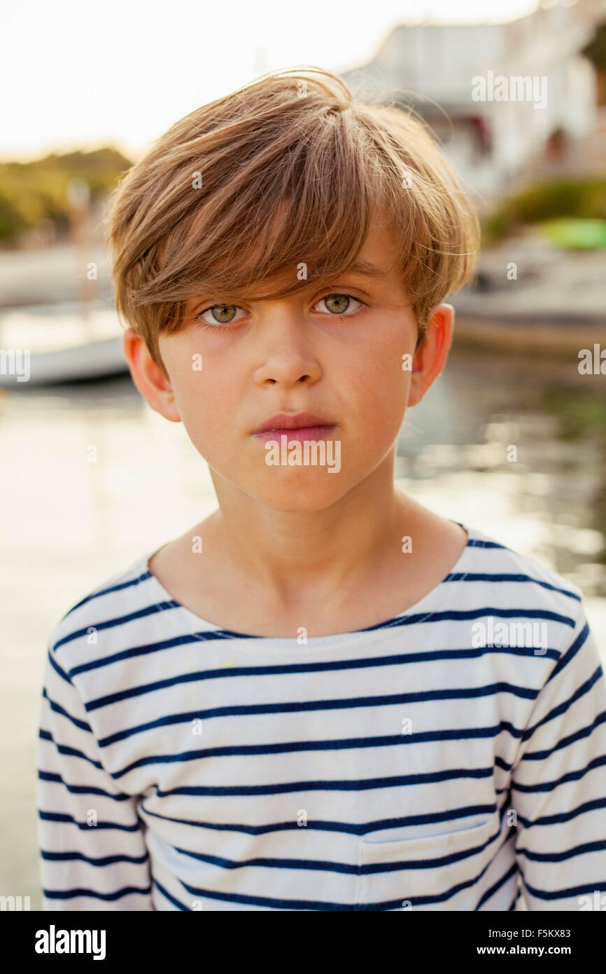 Spain, Menorca, Portrait of smiling boy (6-7) - Stock Image