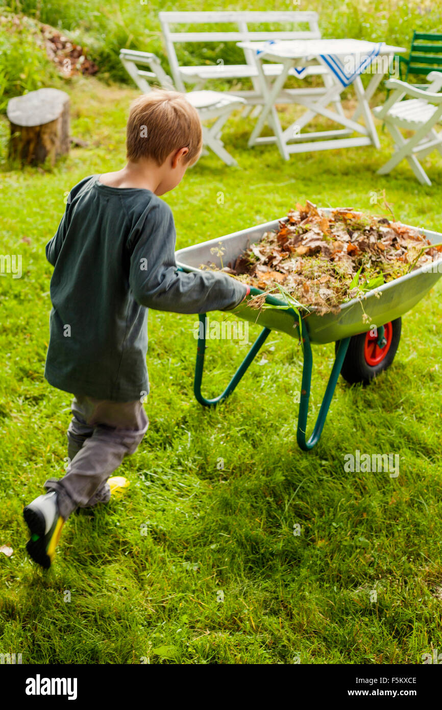 Sweden, Halsingland, Jarvso, Boy (4-5) pushing wheelbarrow - Stock Image