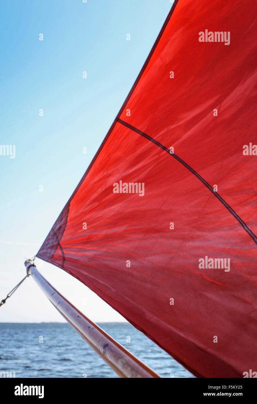 Sweden, Uppland, Runmaro, Barrskar, Close-up of sail - Stock Image
