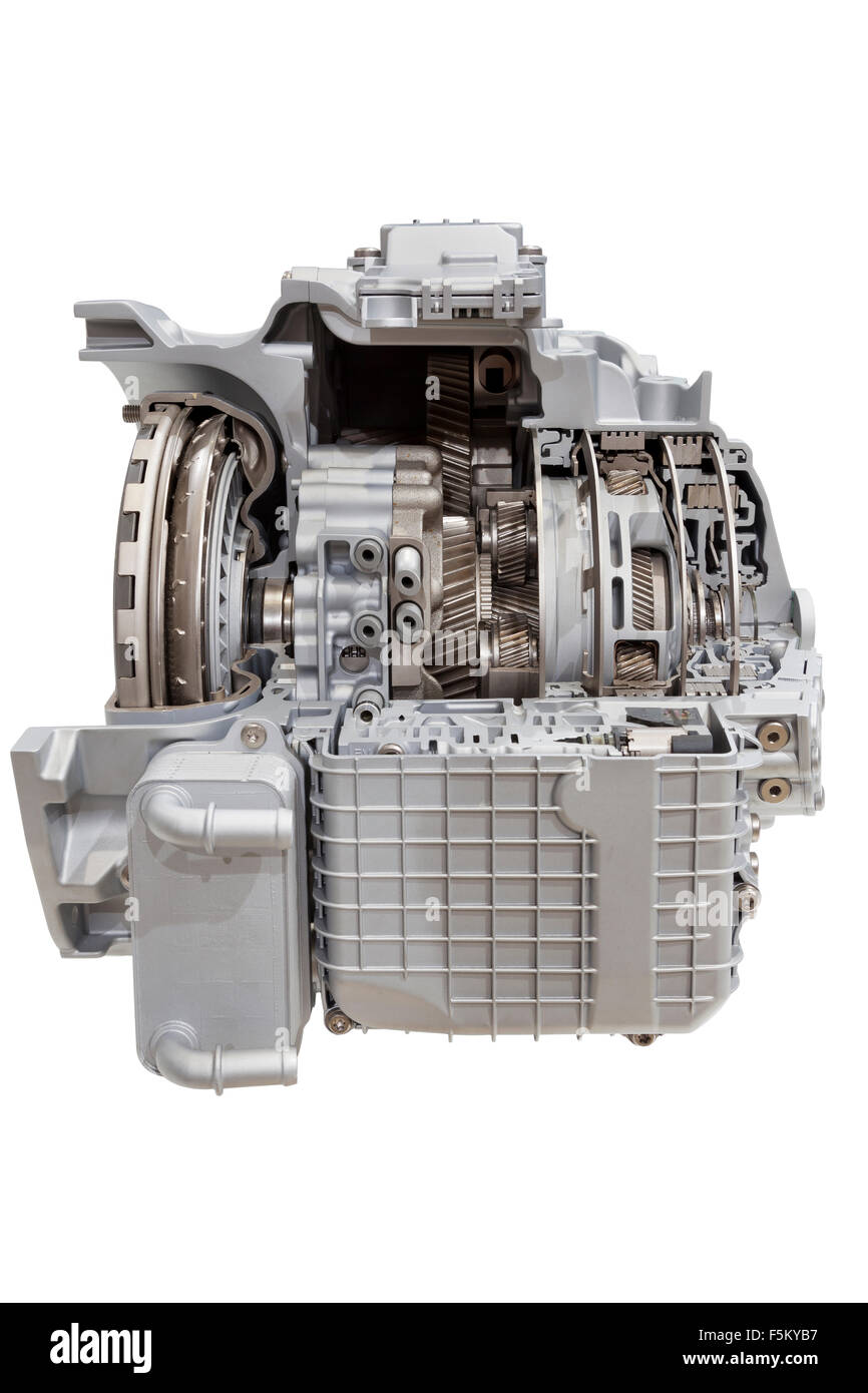 Transmission. Image of 9 speed transmission isolated on white. Clipping path included. - Stock Image