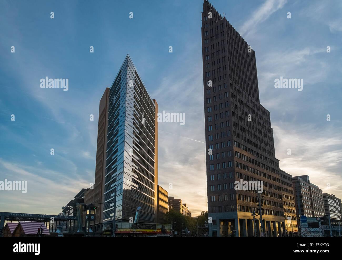 Modern architecture of PWC andf Kollhoff Tower buildings, Potsdamer Platz, Mitte, Berlin, Germany. - Stock Image