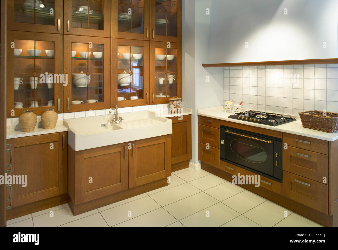 View Of A Domestic Modern Kitchen With Cabinets Drawers And