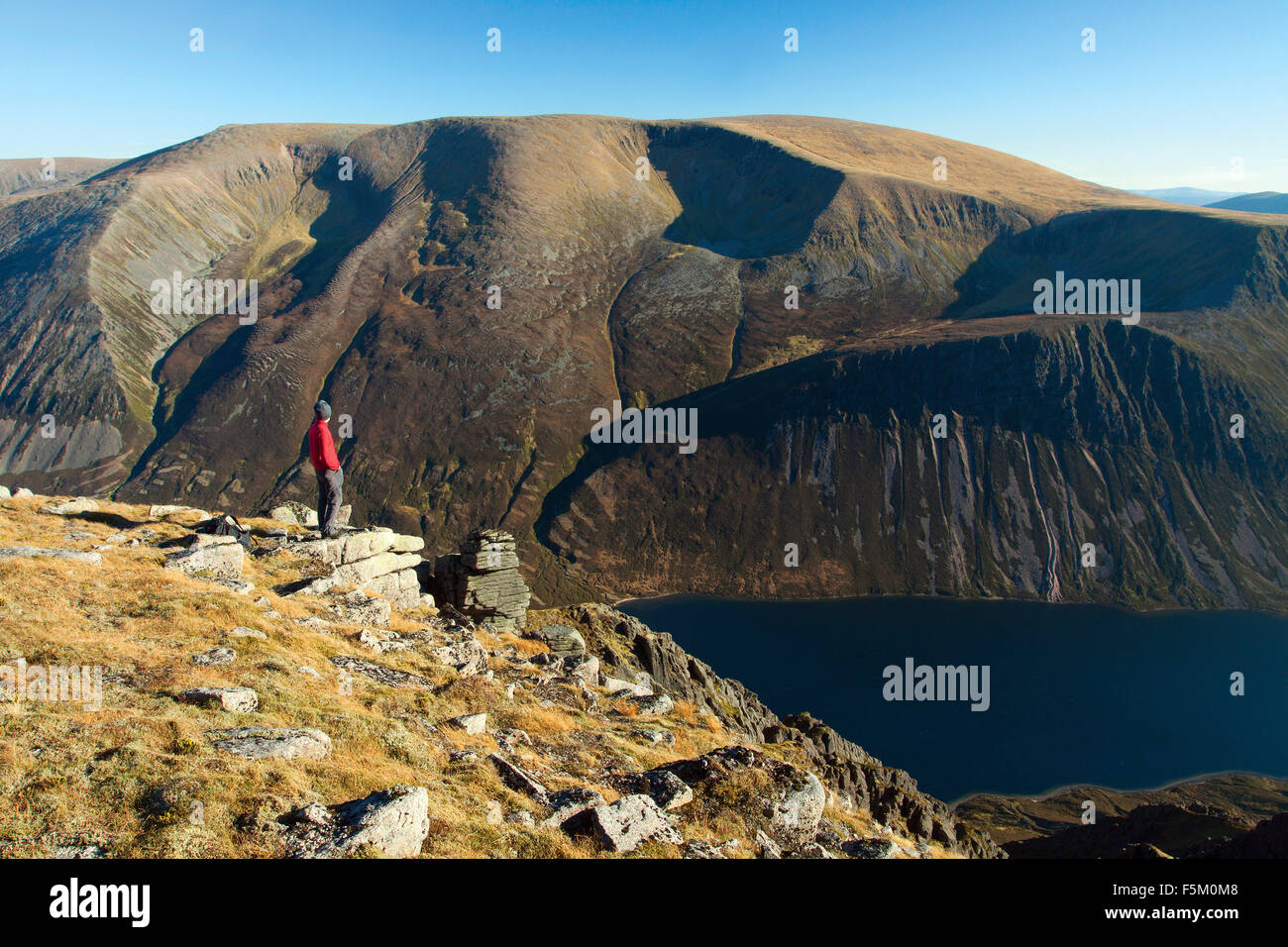 Braeriach and Loch Eanaich from Sgoran Dubh Mor, Cairngorm National Park, Badenoch and Speyside - Stock Image