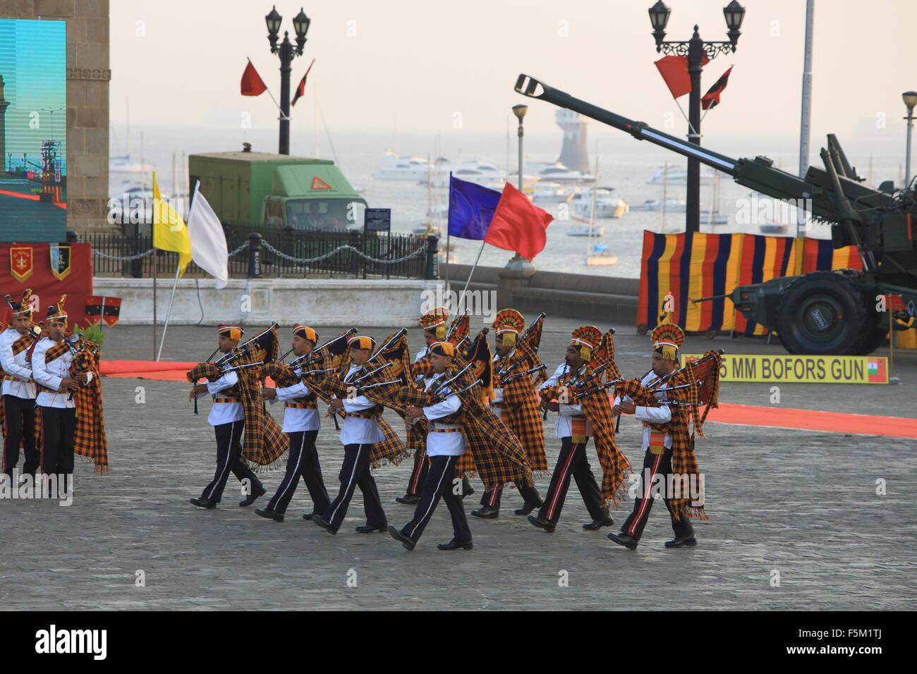 Dogra regiment bag pipers plying, gateway, mumbai, maharashtra, india, asia - Stock Image