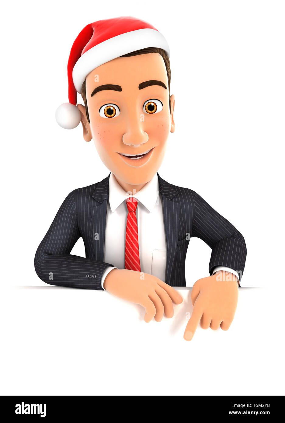 3d businessman pointing to empty wall and holding santa hat, isolated white background Stock Photo