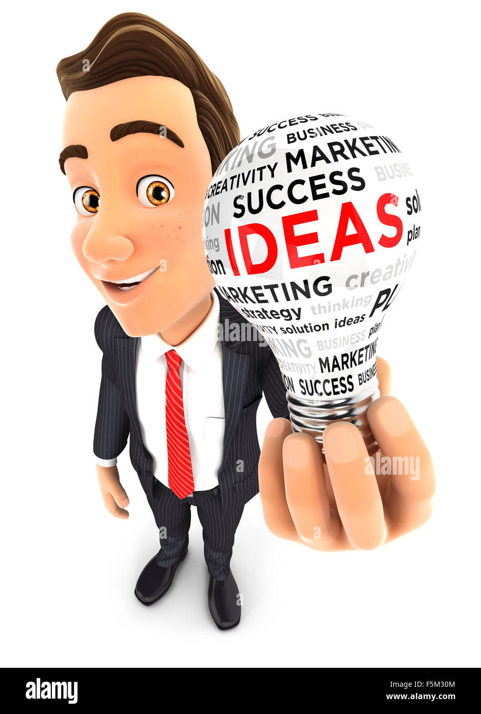 3d businessman holding a conceptual light bulb, isolated white background Stock Photo