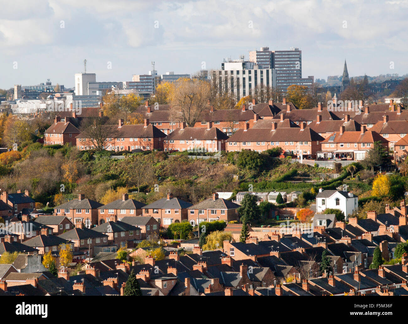 Rooftops in Sneinton and beyond to the city, captured from Colwick Woods in Nottingham, Nottinghamshire England - Stock Image