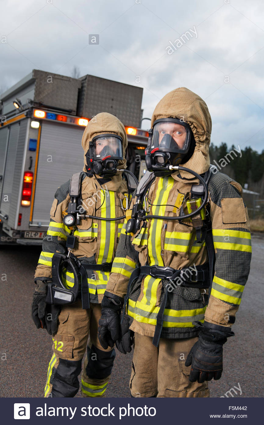 sweden sodermanland tumba firefighters wearing gas mask stock