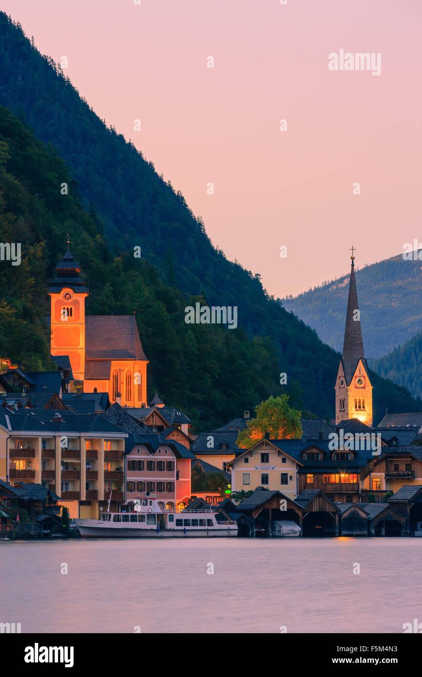 Sunset in Hallstatt, in upper Austria is a village in the Salzkammergut, a region in Austria. - Stock Image