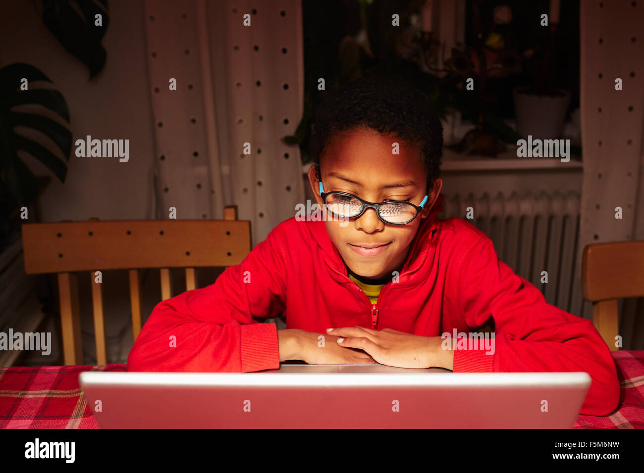 Sweden, Vastra Gotaland, Vastra frolunda, Uppegardsvagen, Boy (10-11) using laptop - Stock Image