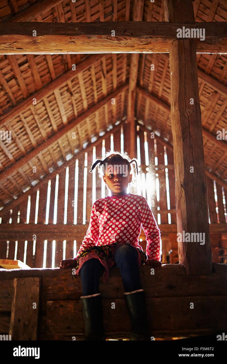 Sweden, Vastra Gotaland, Gullspang, Runnas, Girl (6-7) sitting in barn - Stock Image