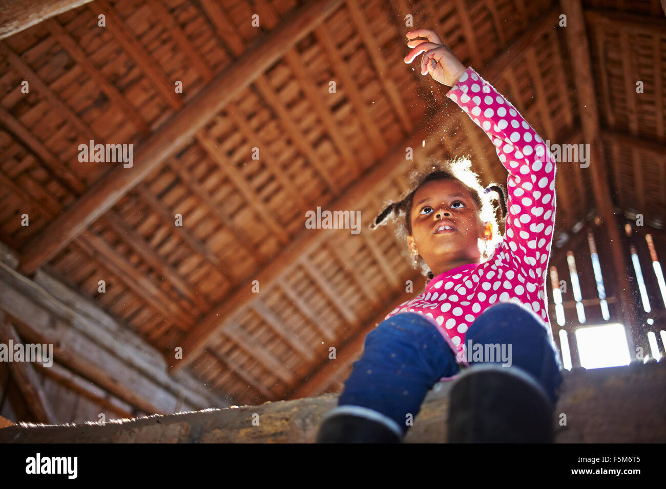 Sweden, Vastra Gotaland, Gullspang, Runnas, Girl (6-7) sitting in barn - Stock Image
