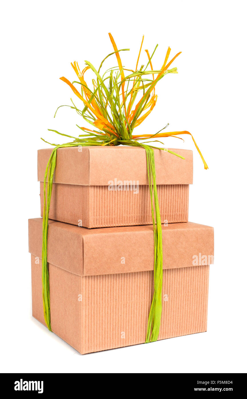Some Brown Cardboard Gift Boxes Tied With Natural Raffia Of