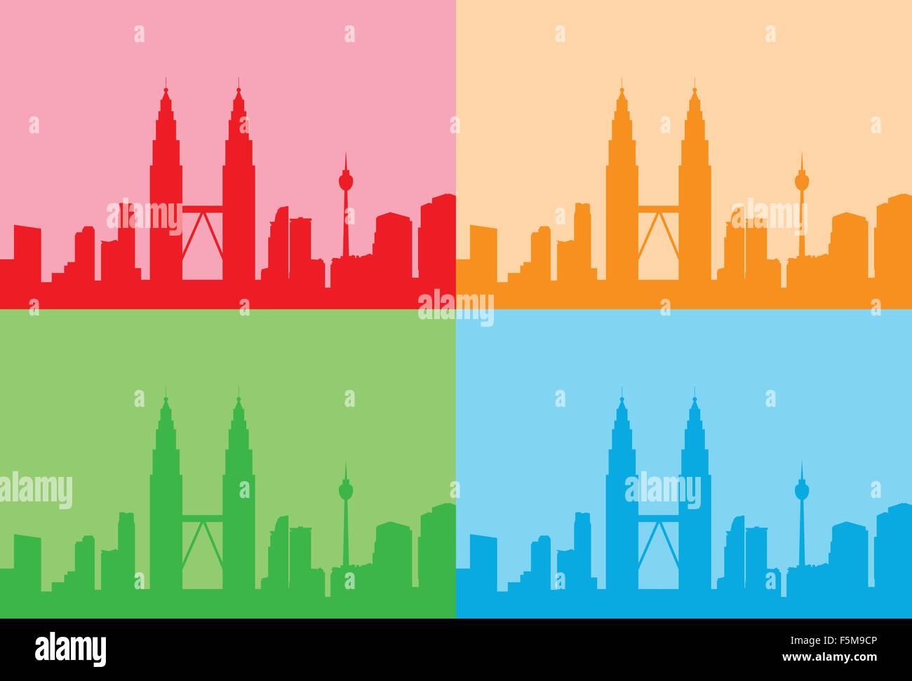 Malaysia Kuala Lumpur Colorful Set Skyline City Skyscraper - Stock Vector