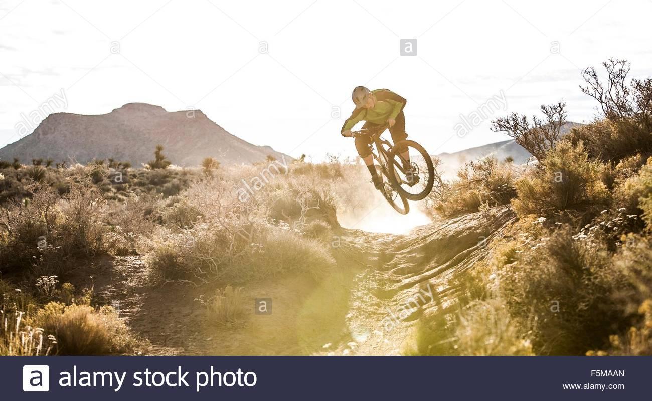 Mountain biker, Las Vegas, Nevada, USA - Stock Image